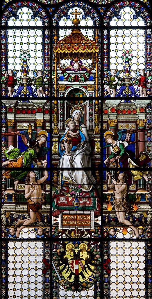 Our Lady of Souls ... The west window of Santa Maria dell'Anima in Rome depicts the Blessed Virgin Mary and the Child Jesus with the Holy Souls. The angels raise up the souls from purgatory through the grace of Christ, and through prayer, as symbolised by the rosary.