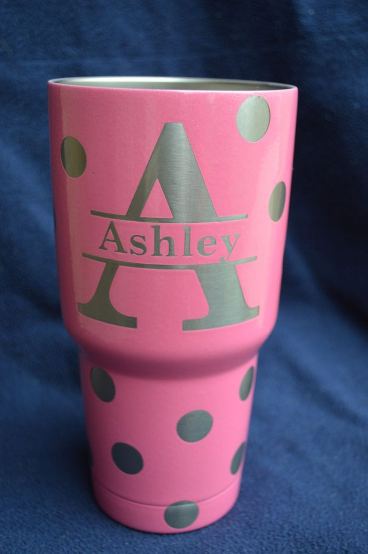 Rtic 30 oz. Tumbler, Custom,Polka Dot with Initials by GraphicDips on Etsy