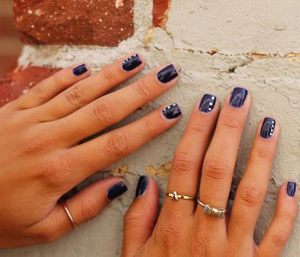 Nautical Nails: First Mate. Keep it simple with neutral navy nails. All you need are a couple of chic white dots for a Cap Cod look. #ManiMonday #SelfMagazine