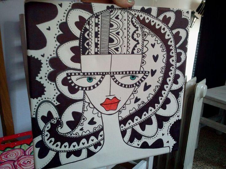Cuadro pintado en acrílico, $280 en http://ofeliafeliz.com.ar