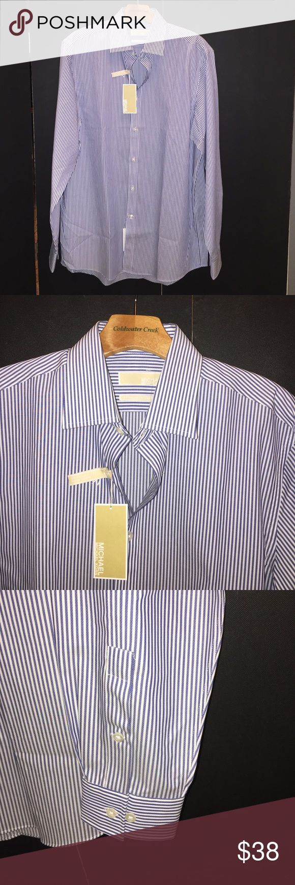 Michael Michael Kors Blue Pin Stripe men shirt Michael Michael Kors men blue strip button down shirt.  Regular - non iron.  Size: 16 34-35 / 100% Cotton MICHAEL Michael Kors Shirts Casual Button Down Shirts