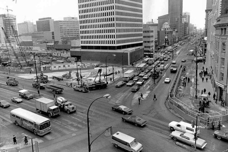 "Portage and Main in 1977  (Photo courtesy of ""Winnipeger"" on Facebook)"