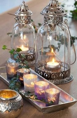 Votive candles and tea lights make up this pretty candle arrangement.