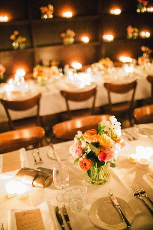 Cafe Morso Wedding candles and flowers  Photo credit #studiosomething
