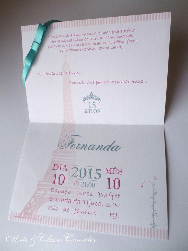Convite 15 anos Tema Paris | Arte & Classe Convites | Elo7