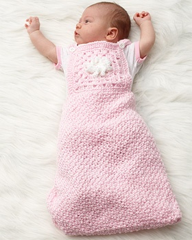 Beginning with a star, crochet from the middle out to make an adorable baby sleep sack in Bernat Baby Coordinates.