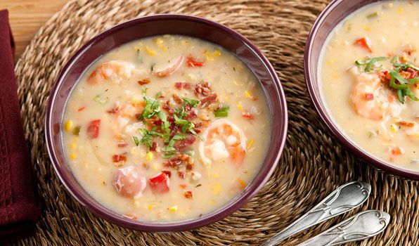 Quick Shrimp and Corn Chowder | Stefano Faita.  This was our supper tonight.  Sooo yummy!  I used cooked, shredded chicken instead of shrimp, only a 14fl oz can of cream corn, skipped the pinch of nutmeg, and didn't end up adding any whipping cream at the end (the soup was creamy enough on it's own). This will DEFINITELY be made several times this winter.