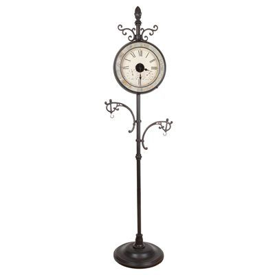 Fusion Solar Outdoor Bronze Clock with Hanging Hooks and Glass Face