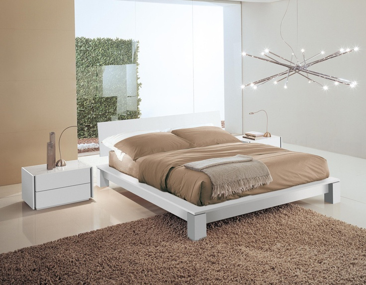 LINE - Bed in lacquered white  Minimal headboard  and exclusive design. http://www.fimarmobili.com
