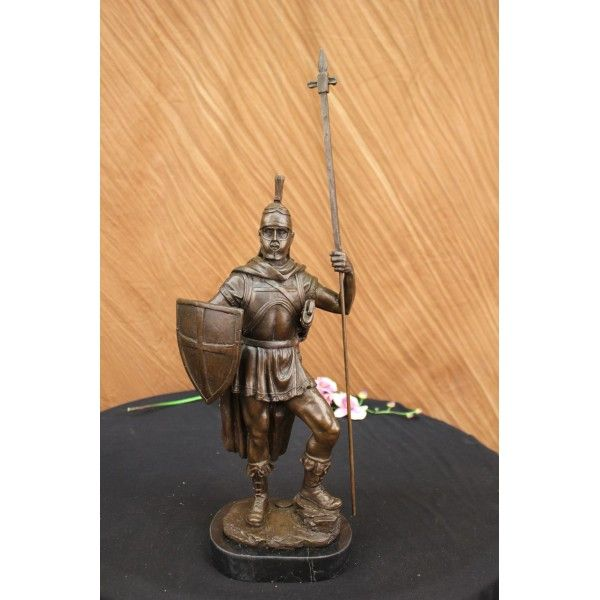 ON SALE !!! Bronze Sculpture Roman Warrior With Armor Bronze Sculpture Statue Figurine Deco...A Knight Stands Firm And Proud. He Raises His Leg In A Signature Pose Of Power And Confidence. In One Hand He Holds His Handmade Shield And In The Other His Spear. He Is In Full Knight Gear And Is Ready To Defend The Honor Of His King. His Body Armor And Outfit Reveal Muscular, Toned Legs. A Long Cape Extends From Around His Neck To The Back Of His Legs. This Sculpture Was Crafted Using The Lost Wax…