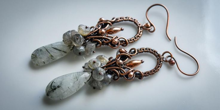 Rutil quartz copper earring
