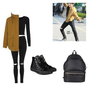 """KIM TAEHYUNG/V bts inspired outfit"" by another-fangirl-called-indi ❤ liked on Polyvore featuring Topshop, Parka London, Converse and Yves Saint Laurent"