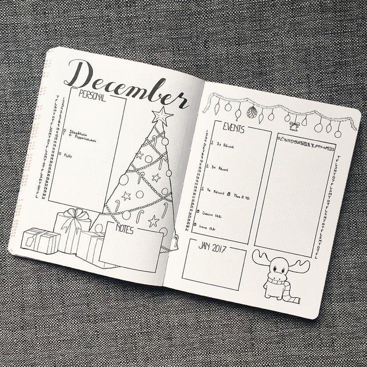 Idées mise en page de Noël Bullet Journal