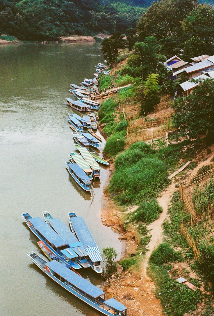 Slowboats in Nong Kiau, Laos