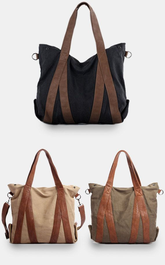 Large Canvas tote bags / women bag / Briefcase by CrazyLeatherBag, $59.00....so many tote bags to love, this one ranks up at the top!