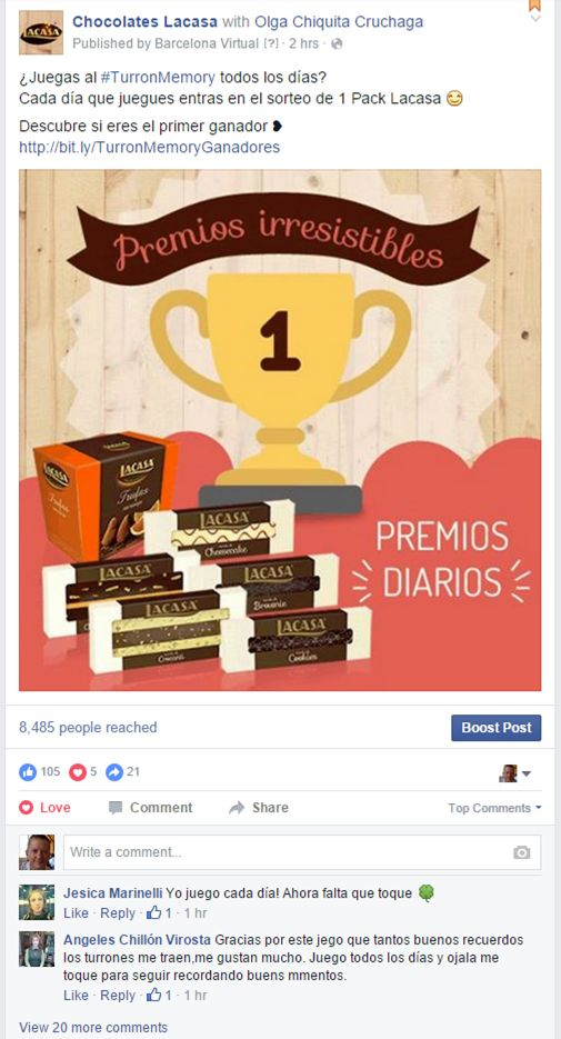 "CHOCOLATES LACASA · Facebook post to encourage player participation in the 2015 Christmas promotion ""TurrónMemory"". A Mobile-First, Gamification-based memory game based around their new Christmas nougats. Daily winners: http://www.lacasa.es/turronmemory/?utm_source=FacebookLacasa&utm_medium=post&utm_campaign=GanadoresTurronMemory#ganadores"