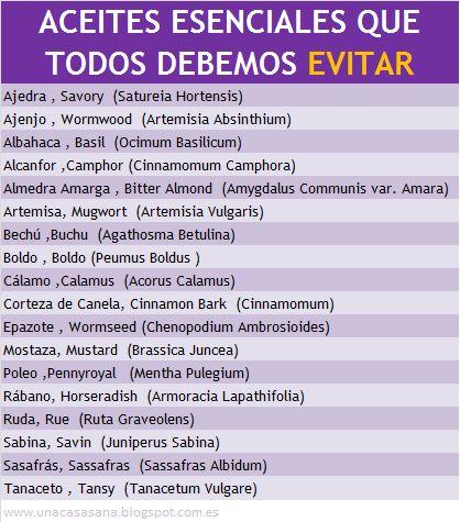 Aceites Esenciales a evitar - unacasasana.blogspot. com.es