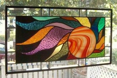 Fireball of Color Stained Glass Window Panel Signed and Dated | eBay