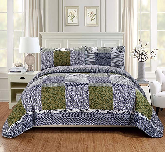 Fancy Linen 3pc King California King Quilt Bedspread Set Over Size Bed Cover Squares Floral Stripped Zig Zag Green Purple Blue White New Review With Images Fancy Bed Bed Spreads