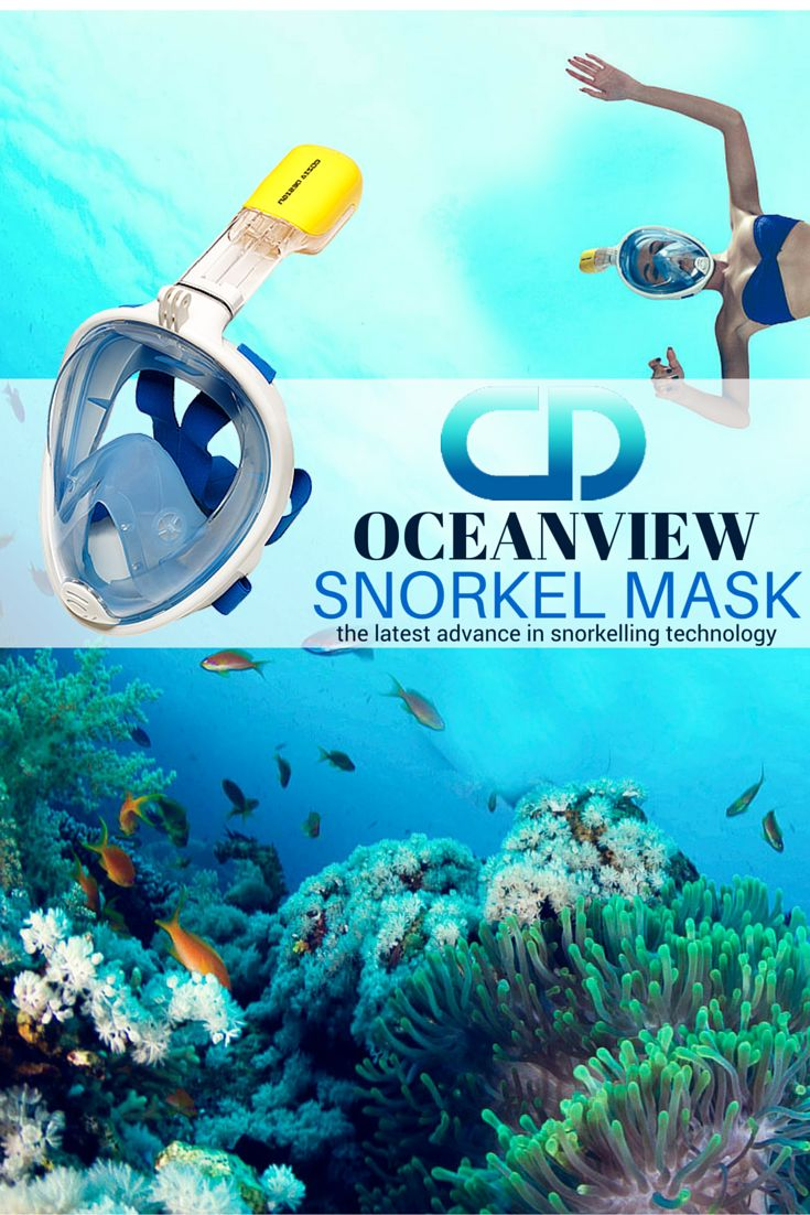 OceanView Snorkel Mask – the latest advance in snorkelling technology.  Here are the highlights of this new, revolutionary design: – 180 degree wide vision – comfortable silicon face pading – no mouth piece – anti-fogging technology with dual air vents – double adjustable nylon straps for better fitting – intelligent drain valve – GoPro Mount