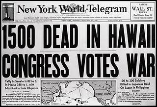 1500 dead in hawaii, congress votes war, new york world-telegram, december 7, 1941