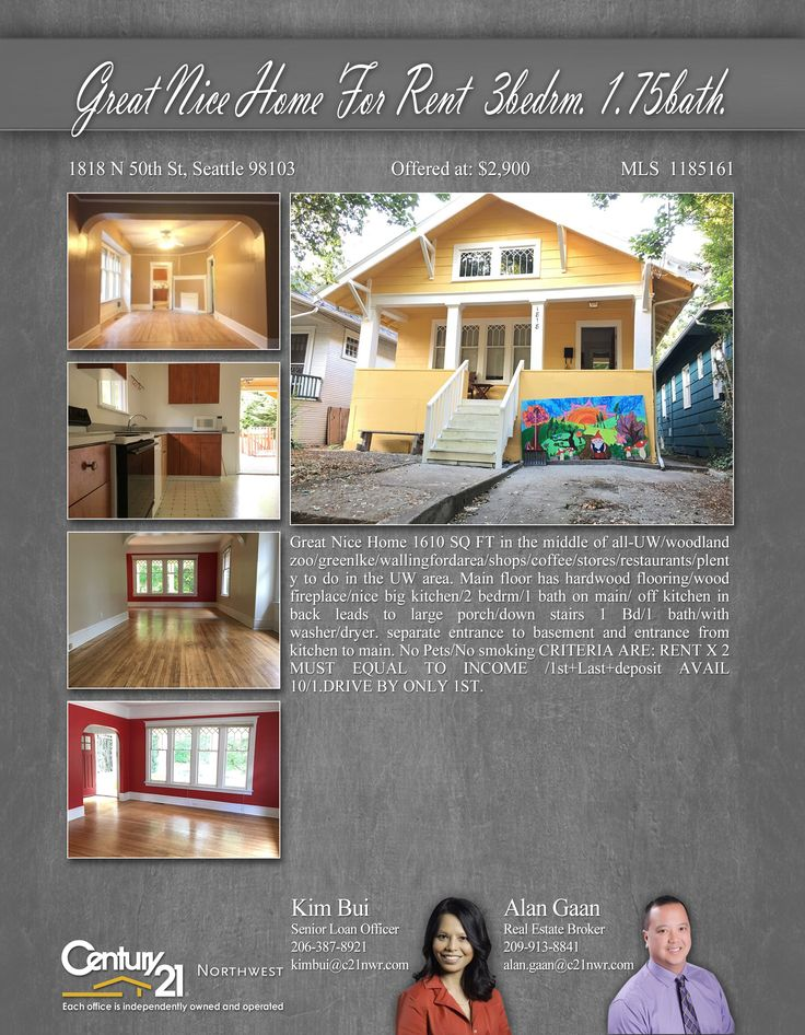 PRICE CHANGE  Great Nice Home 1610 SQ FT in the middle of all-UW/woodland zoo/greenlke/Wallingford area/shops/coffee/stores/restaurants/plenty to do  Contact Kim Bui& Alan Gaan MLS # 1185161 http://1818n50thst.c21.com/