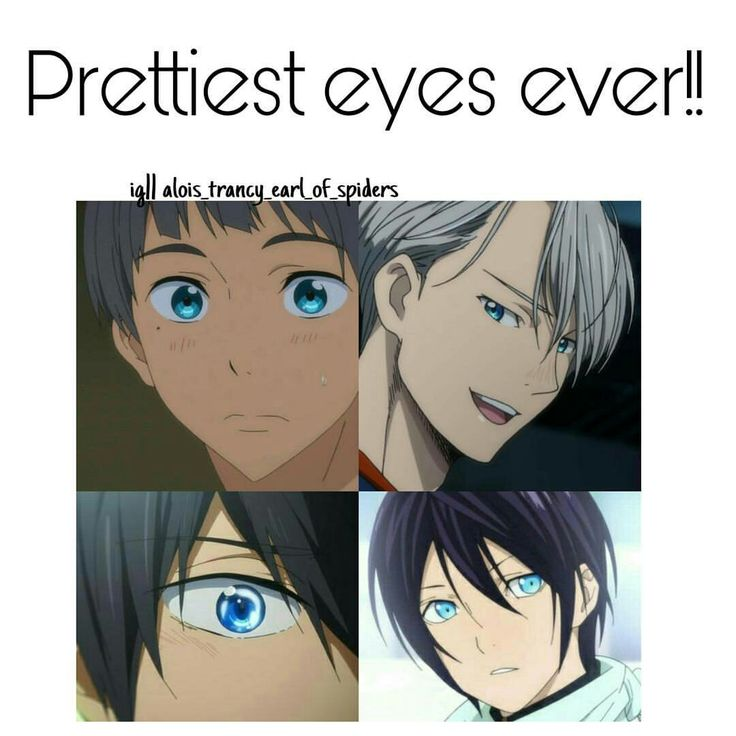 my one friend, more of my sisters friend but whatever, is absolutely in love with bright blue eyes so yato (noragami), haru (free) and another haru (my little monster), ciel (black butler) are her absolute favs