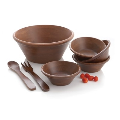 Woodard & Charles 7 Piece Salad Bowl Set in Mahogany - Medium (When I was little we always ate salad out of wooden salad bowls.)