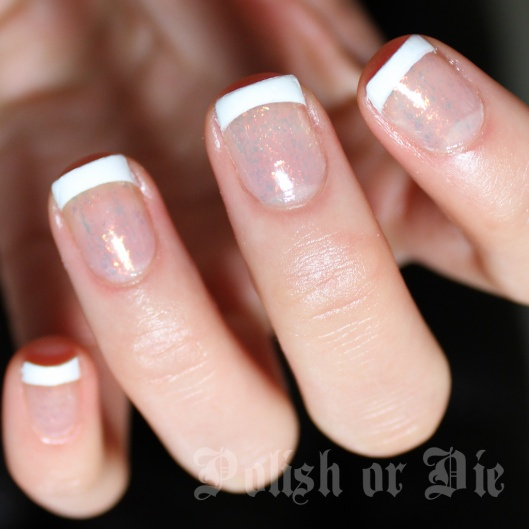glitter french manicure nail art stamped with konad plate m19. I used Essie Shine of the Times