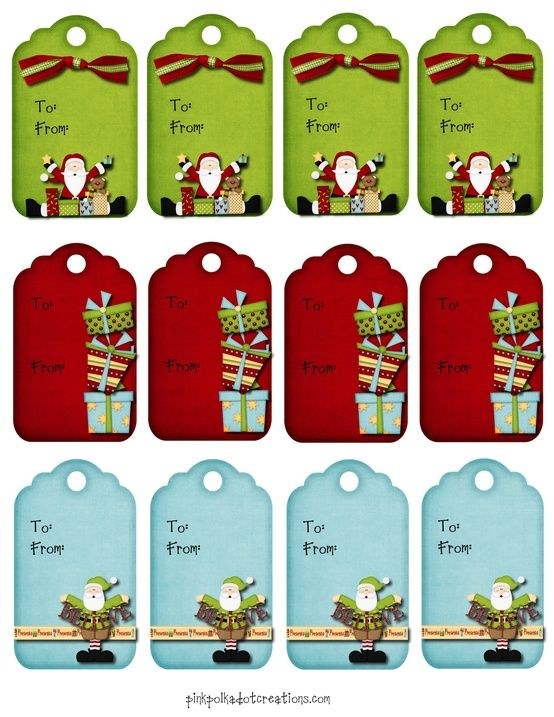 Cute Christmas gift tags!  Free Printable!
