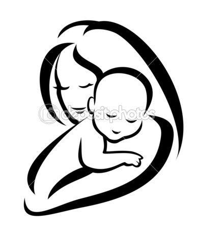 Mãe e bebê vetor silhueta — Ilustração de Stock #14431941