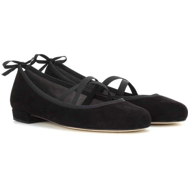 Stuart Weitzman Bolshoi Suede Ballerinas (€480) ❤ liked on Polyvore featuring shoes, flats, black, suede shoes, black suede shoes, black suede flats, ballet shoes and black ballet shoes