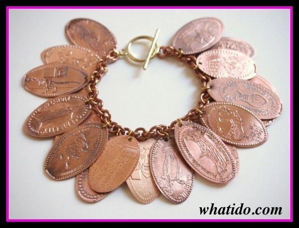 what to do with pressed pennies, make a   Disney World bracelet - love this and i have about  a hundred of these from all   over the place