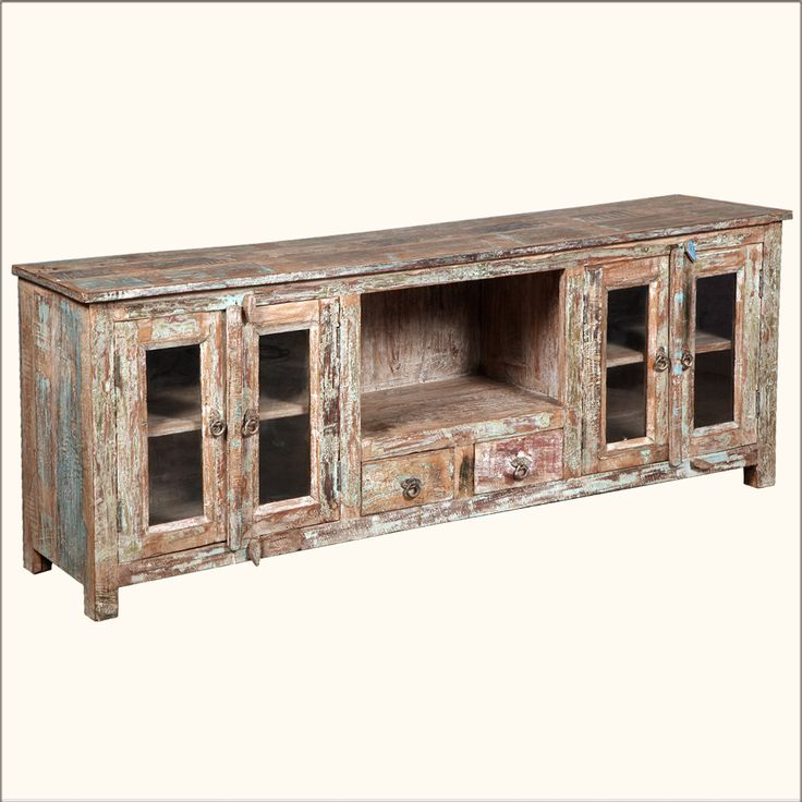 Rustic Reclaimed Distressed Solid Wood Media Console Cabinet