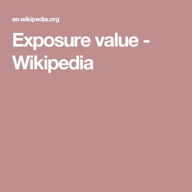 Exposure value - Wikipedia