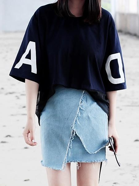Navy T-shirt With Sheer Hem | Choies