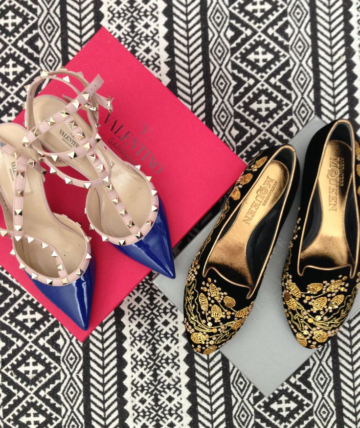 Valentino Rockstud shoes and Alexander McQueen Velvet embroidered  slippers