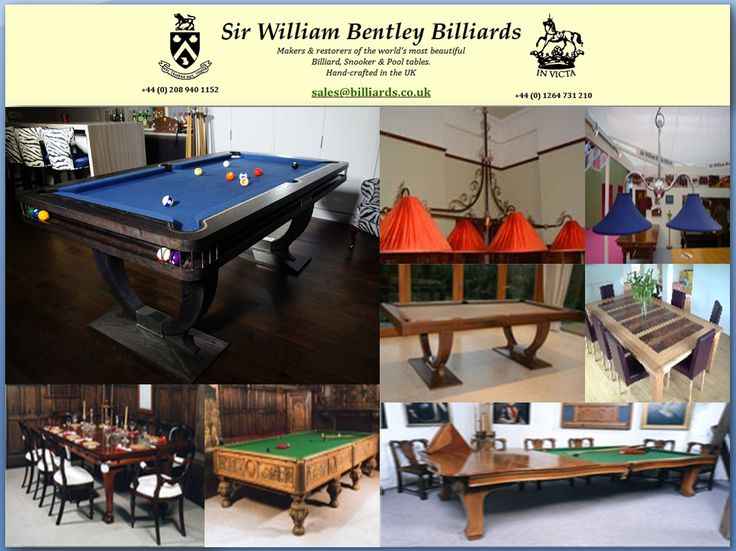 Whether you are looking for antique & replica, dual purpose, designer & custom pool tables with accessories, then look no other than Sir William Bentley Billiards! We work on each table with exacting attention to detail and are proud of our craftsmanship. Currently, we have 300 tables in stock.