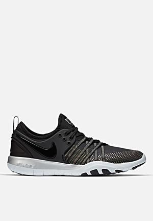 0b66202a3443 Nike Free TR 7 Metallic Trainers Black   Pure Platinum