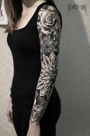 Risultati immagini per roses sleeve tattoo