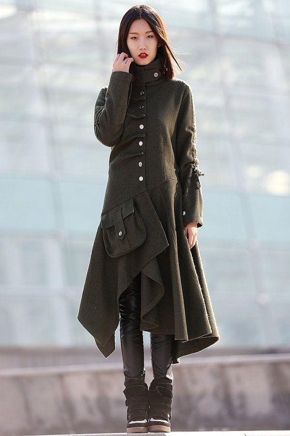 manteau hiver Veste laine femme vert armée C183 par YL1dress