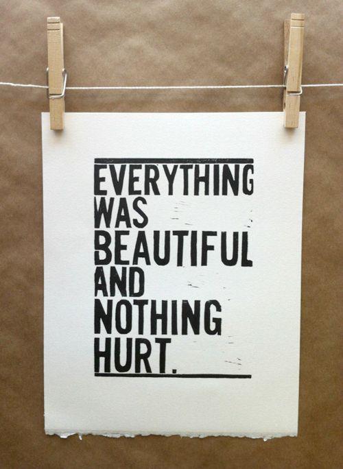 """Everything was beautiful, and nothing hurt."" - Kurt Vonnegut, Slaughterhouse Five"