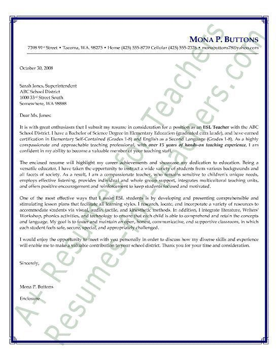 esl teacher cover letter sample english as a second language cover letter or letter of intent preschool teacher cover letter