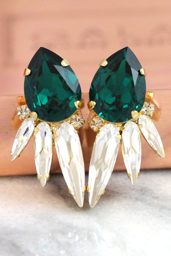 Emerlad Earrings,Emerlad Swarovksi Earrings By Ilona Rubin    #emerald, #earrings, #jewelry, #bridal