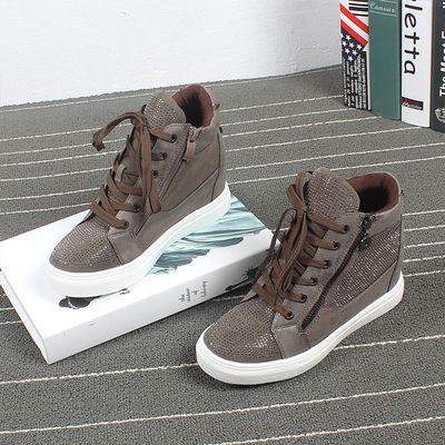 Повышенные толстых дном высоких ботинок Европа и новый алмаз цепь круглого спортивной обуви склона с кружевными сапогами притоком внешней торговли