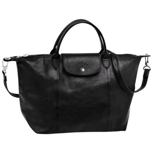 Sac porté main - Le Pliage Cuir - Sacs - Longchamp - Noir - Longchamp France