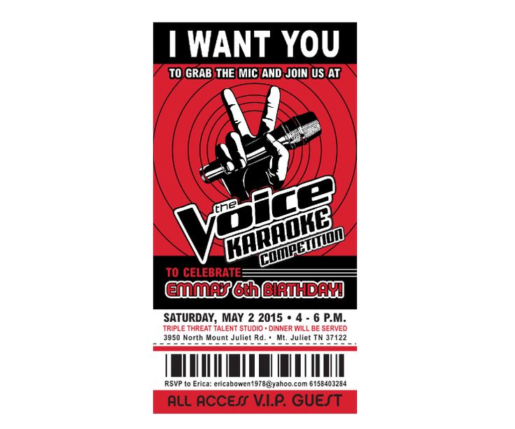The Voice Karaoke Party Ticket Invitations.  Fully Customizeable. DIY digital or printed options available. Order here: http://www.ianandlola.com/products/character_invitations