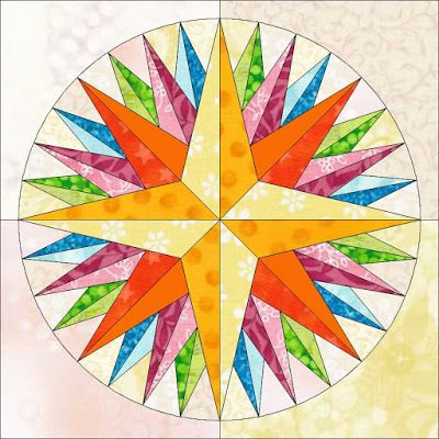 Kaleidoscope Mariner's compass quilt block pattern ~ Foundation piecing