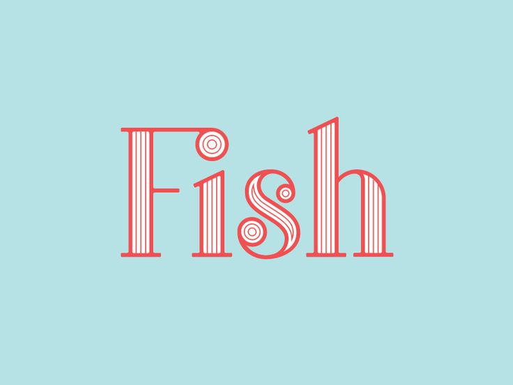 Custom Lettering - Fish (inverted colors)