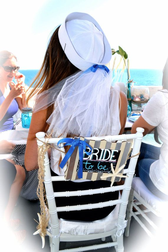 Click on the image to purchase one of these HANDMADE Bridal Sailor Hats from my Etsy store. Perfect for a Nautical themed bridal shower or bachelorette party.